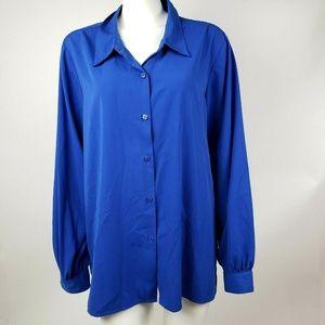SUSAN GRAVER Blue Button Down XL